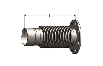 Exhaust Bellows Connector, Slotted ID Cuff/ANSI Flange