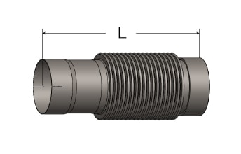 Exhaust Bellows Connector, Slotted ID Cuff/Female NPT