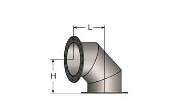 Exhaust Mitered Elbow – 90° Short Radius, ANSI Flanges