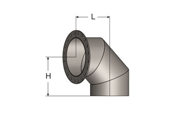 Exhaust Mitred Elbow – 90° Short Radius, ANSI Flange/Plain