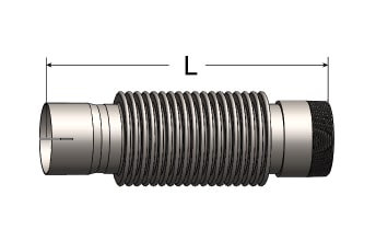 Exhaust Bellows Connector, Slotted ID Cuff/Male NPT